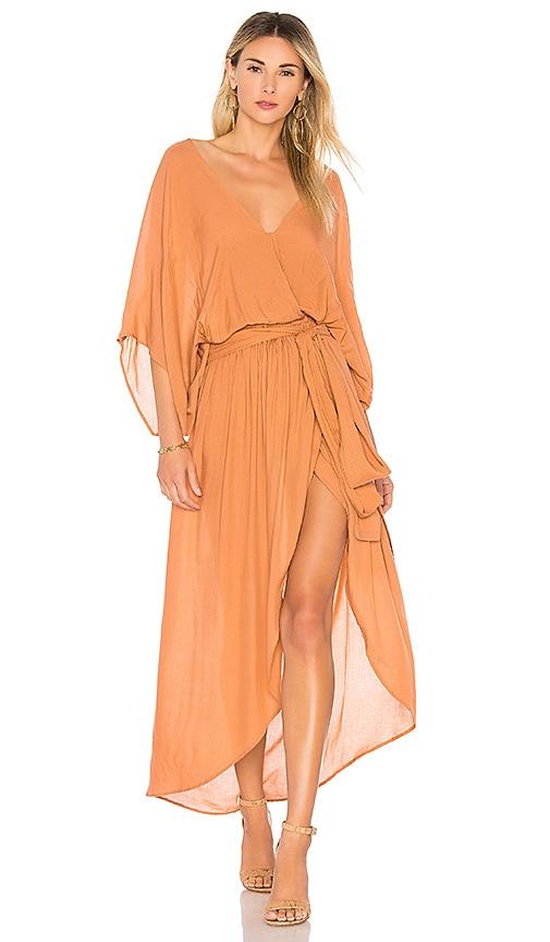 Indah Quill Kimono Maxi Dress in Neutral