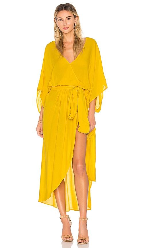 Indah Quill Kimono Maxi Dress in Yellow