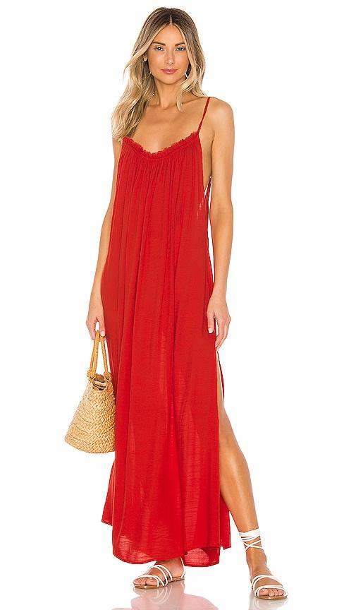 yasmine-solid-gathered-neckline-maxi-sundress by indah