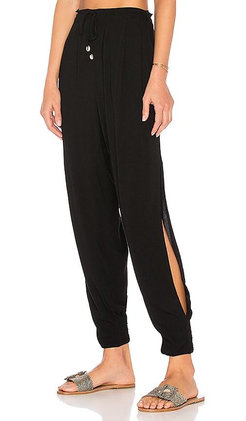 Indah Alligator Side Slit Pant in Black