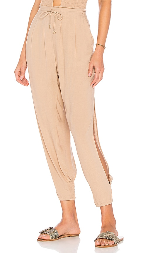 Indah Alligator Side Slit Pant in Tan