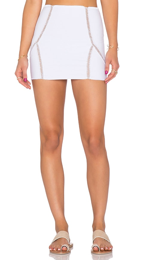 5690e7972 Indah Zuberi Crochet Mini Skirt in White | REVOLVE