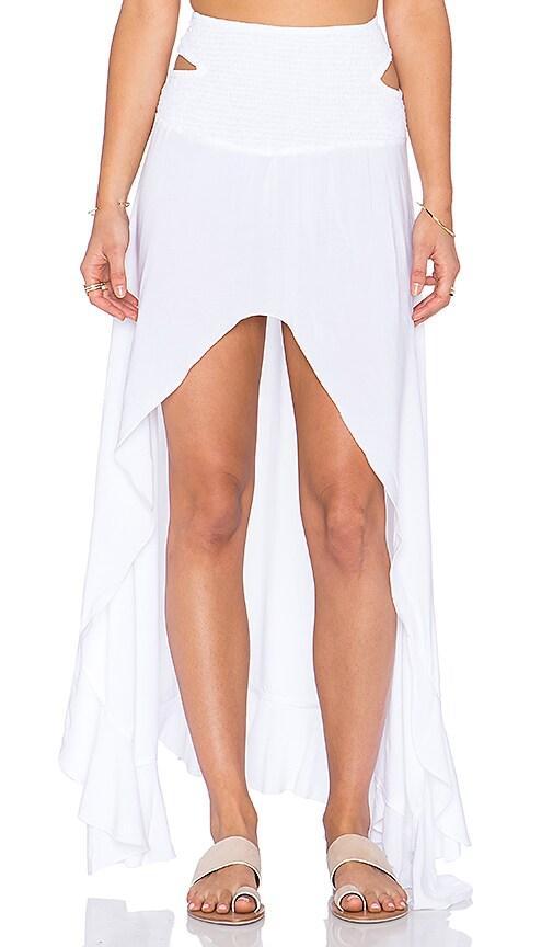 Indah Kodiak Hi Lo Ruffle Maxi Skirt in White