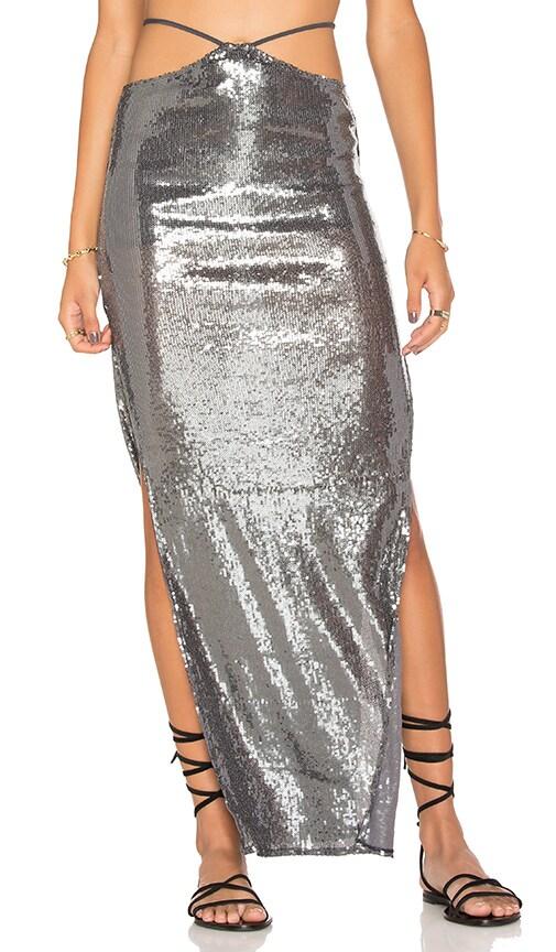 Indah Gigi String Waist Maxi Skirt in Metalic Silver