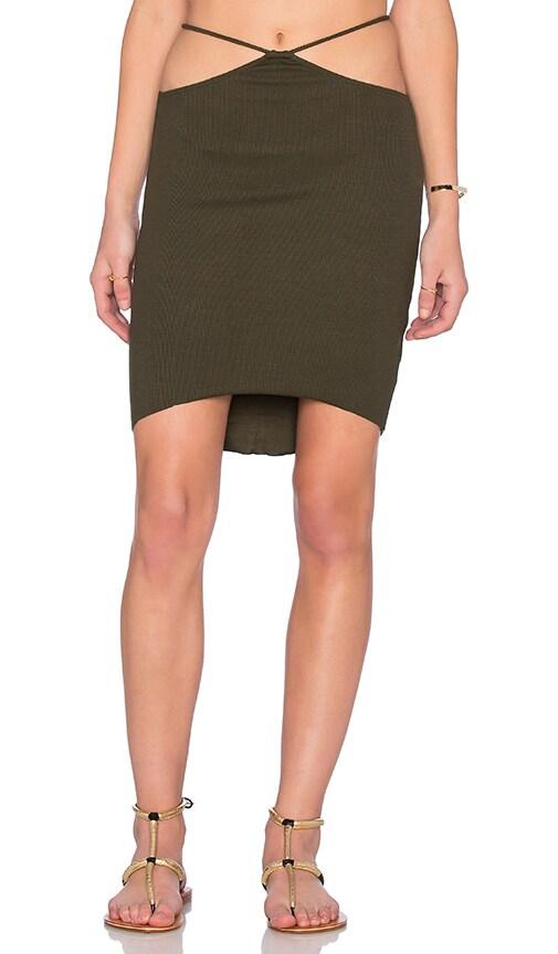 Indah Bridgette Cutout Mini Skirt in Pine Green