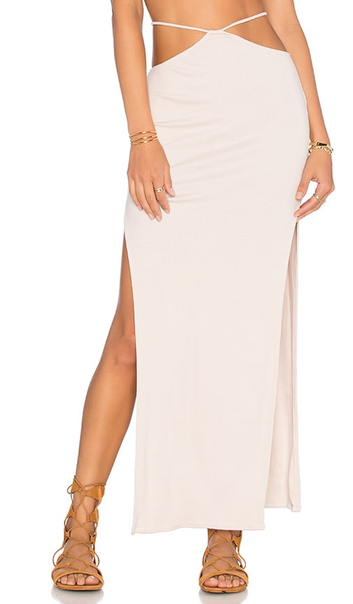 Indah Gigi High Slit Maxi Skirt in Beige