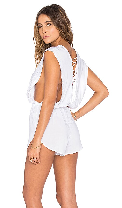 Indah Nila Lace Up Romper in White