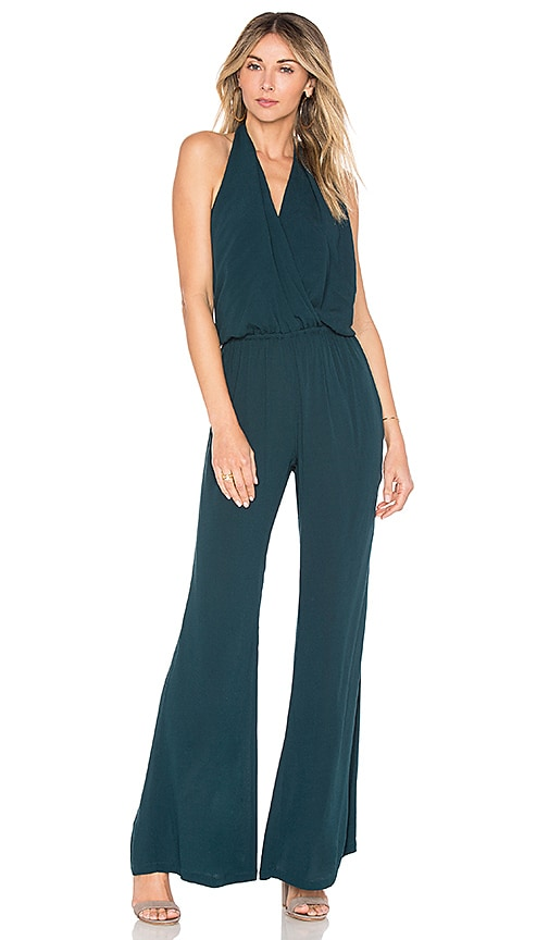 e7256a2c454a Indah Smoke Halter Jumpsuit In Teal