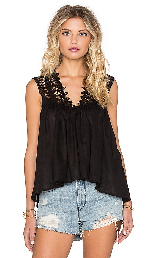 Indah Palm Lace Detail Cami in Black