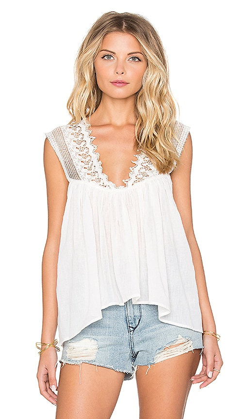 Indah Palm Lace Detail Cami in Ivory
