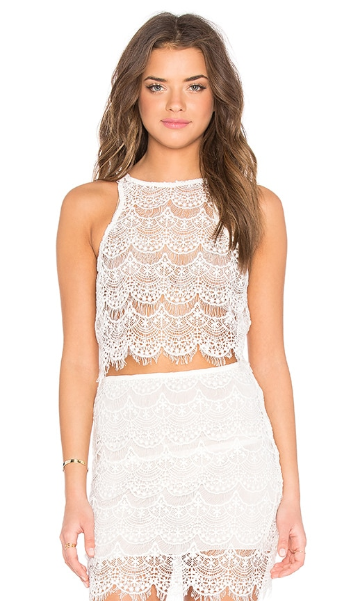 Indah Kera Lace Up Back Tank in White