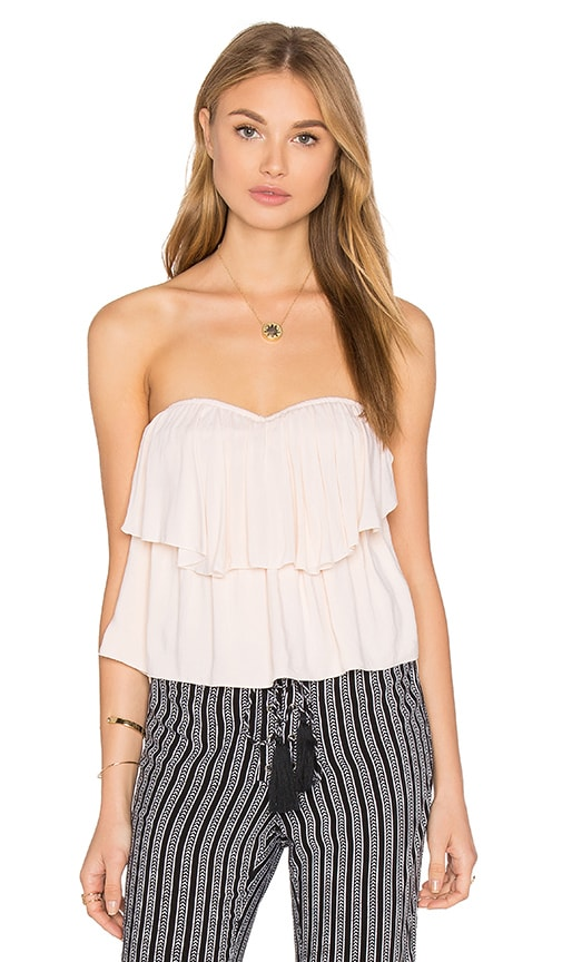 Indah Paloma Strapless Flounce Top in Ivory