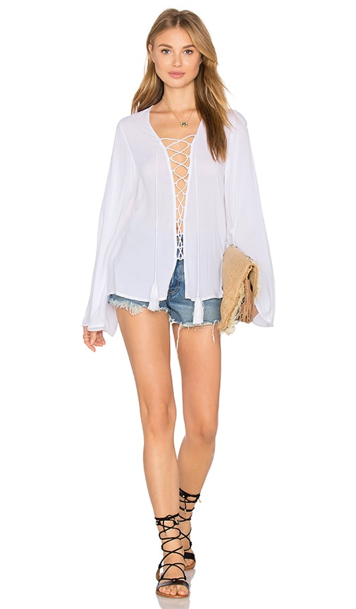 Indah Pisces Lace Up Top in White