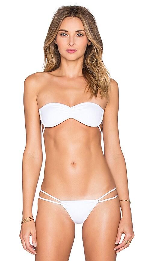 Indah Liv Bandeau Bikini Top in White