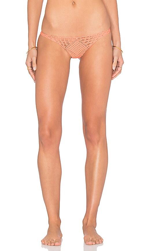 Indah Kohsamui Macrame Bikini Bottom in Coral