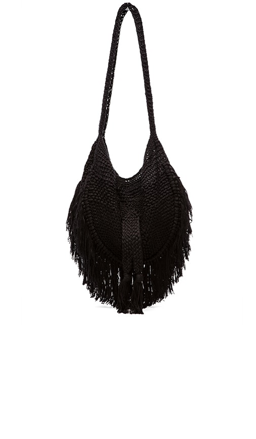 Indah Seasame Hand Crochet Fringe Bag in Black