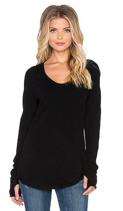 Inhabit Thumbhole Crew Sweater in Black