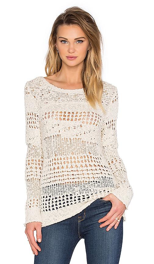 Inhabit Crew Neck Crochet Sweater in Natural