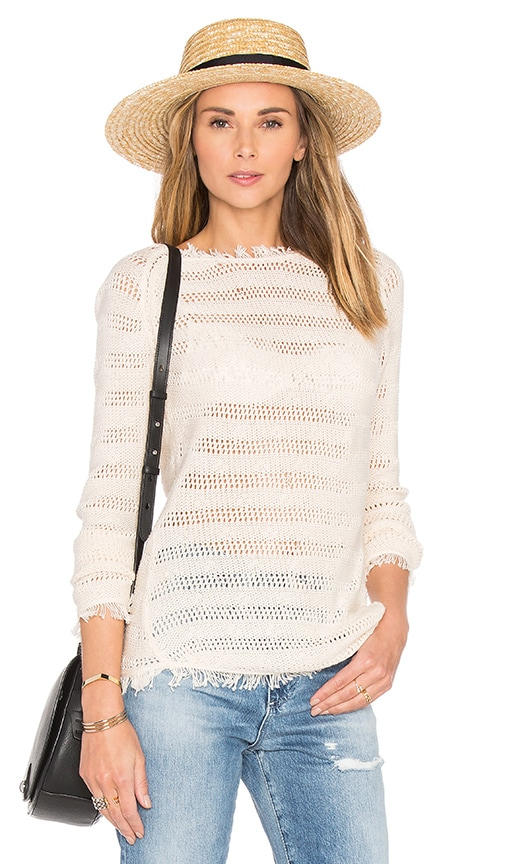 Inhabit Fringe Stripe Sweater in Ivory