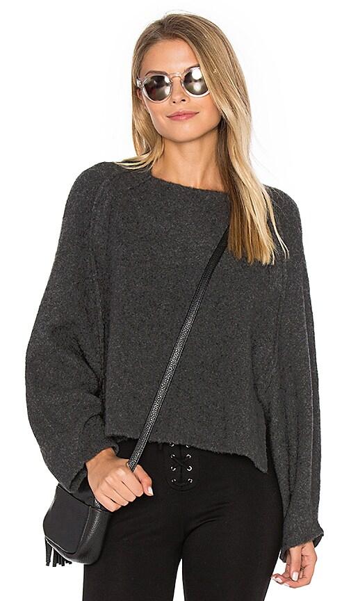 Inhabit Crop Crew Neck Sweater in Charcoal