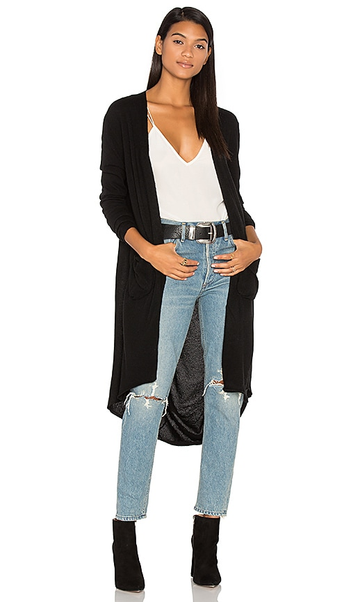Inhabit Long Drape Cardigan in Black