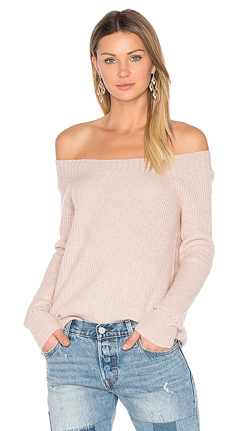 Inhabit Parisienne Off Shoulder Sweater in Blush