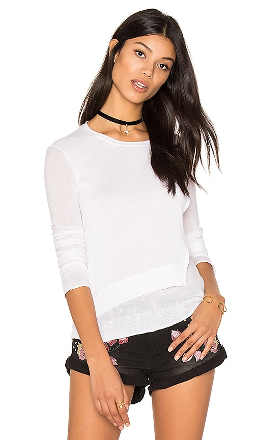 Inhabit Layered Crew Neck Sweater in White