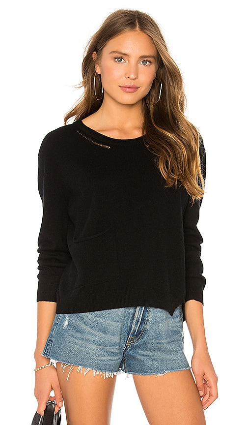 Inhabit Crew Neck Pullover With Pocket in Black