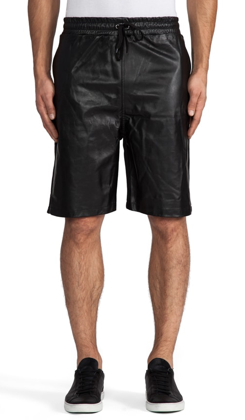 Leather and Cotton Shorts