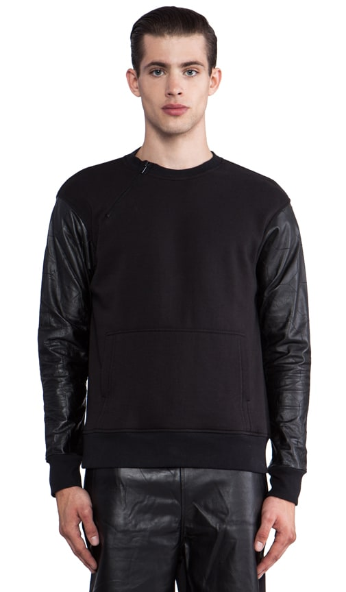 Sweatshirt w/Embossed Leather Sleeves