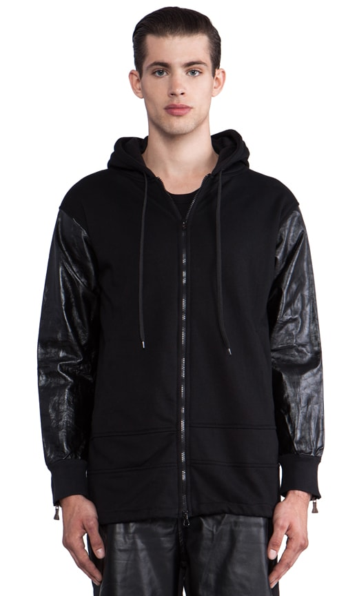 Zip Hoody w/Leather Sleeves