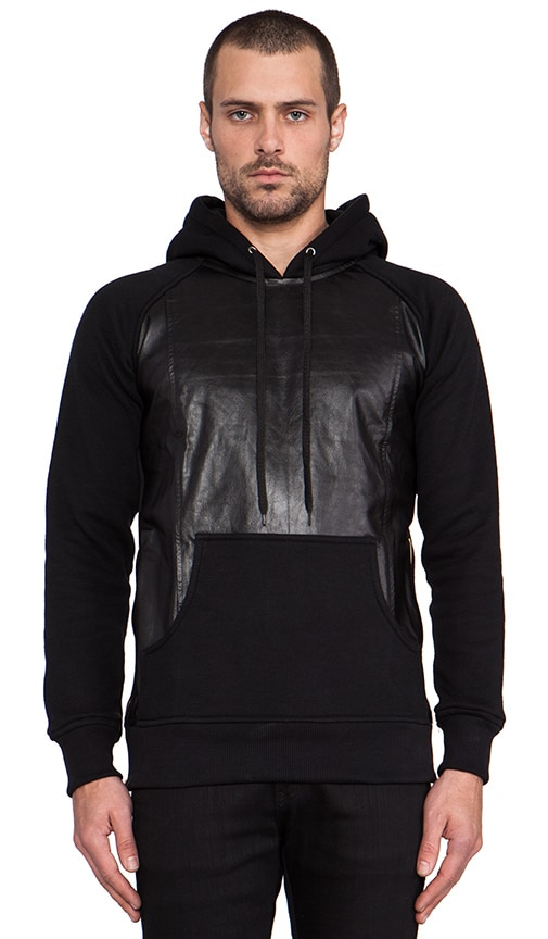 Leather Cotton Pullover Hoodie