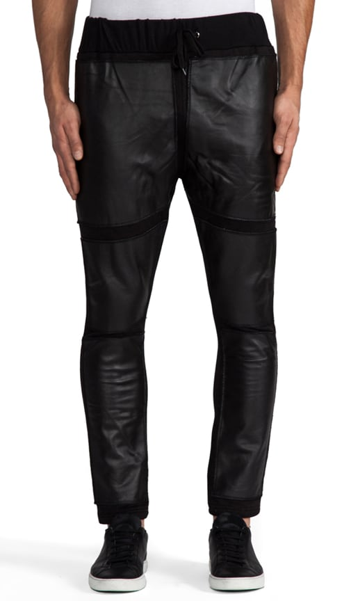 Black Square Leather Pants