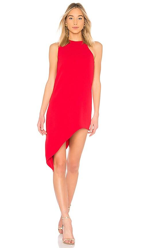 red asymmetrical dress
