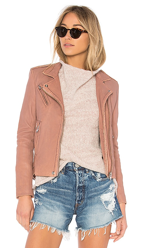 IRO Han Leather Jacket in Pink