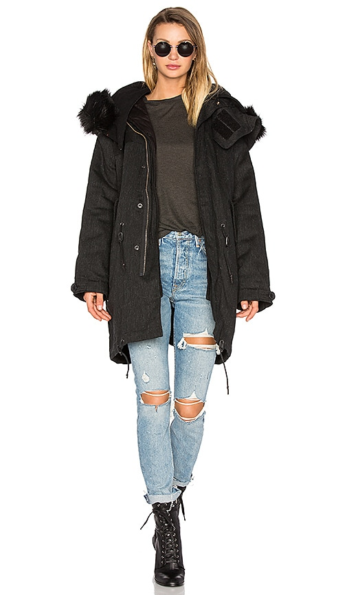 IRO . JEANS Ismery Faux Fur Jacket in Charcoal