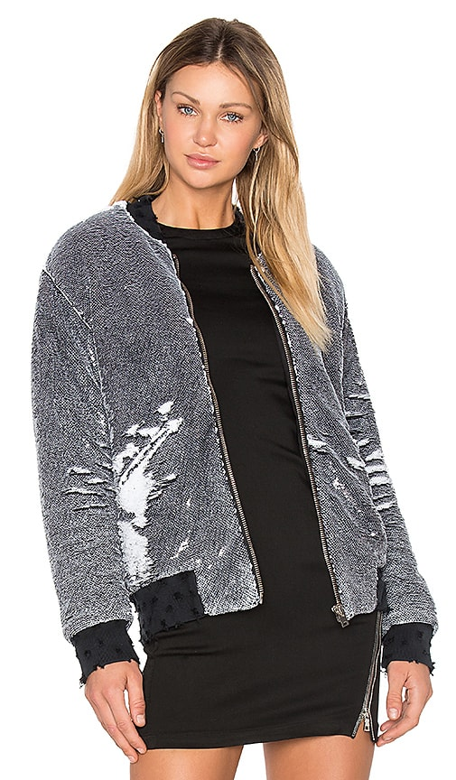 IRO . JEANS Amaia Sequin Bomber Jacket in Black & White