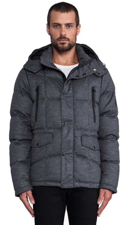 Stretch Knit Flannel Down Jacket