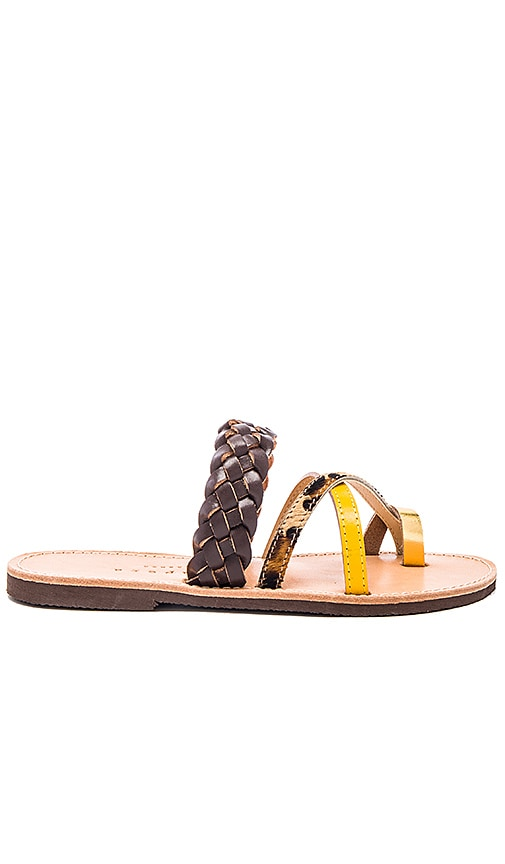 isapera Ftelia Calf Hair Sandal in Chocolate
