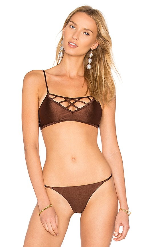 Issa de' mar Aloha Hina Bikini Top in Brown