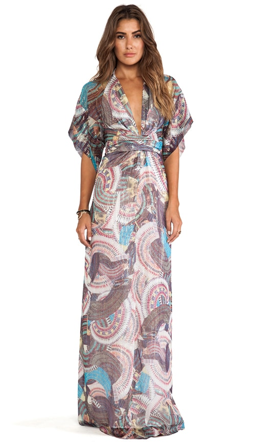 Printed Short Sleeve Wrap Dress