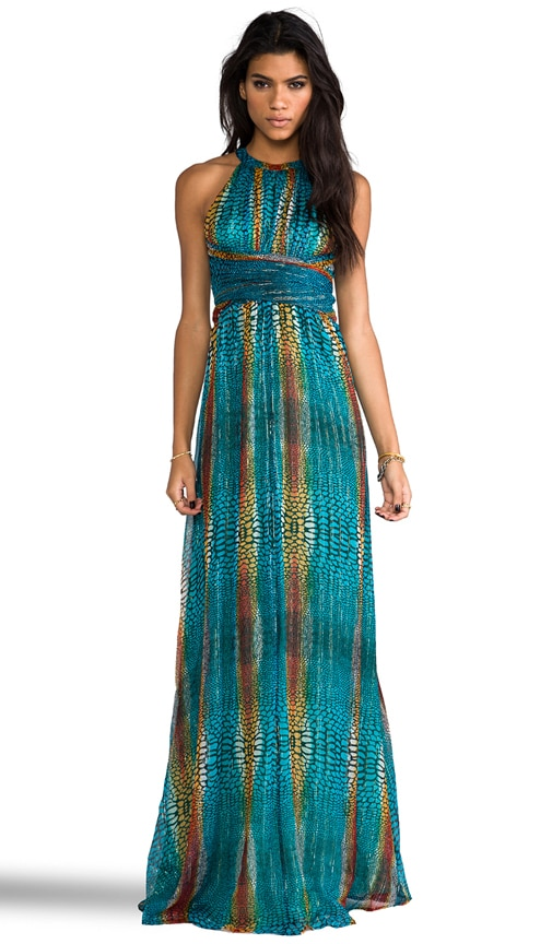 Chiffon Metallic Maxi Dress