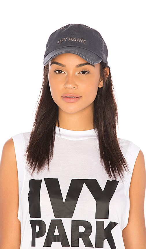 IVY PARK Embroidered Dad Cap in Charcoal