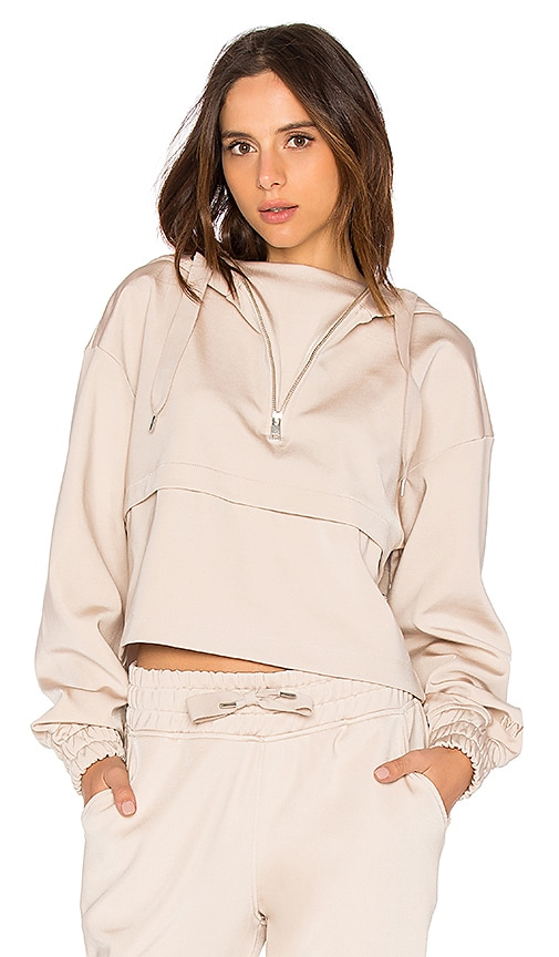IVY PARK Satin Crop Hoody in Taupe
