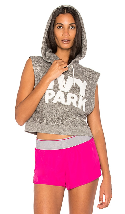 IVY PARK Cropped Logo Hoodie in Gray
