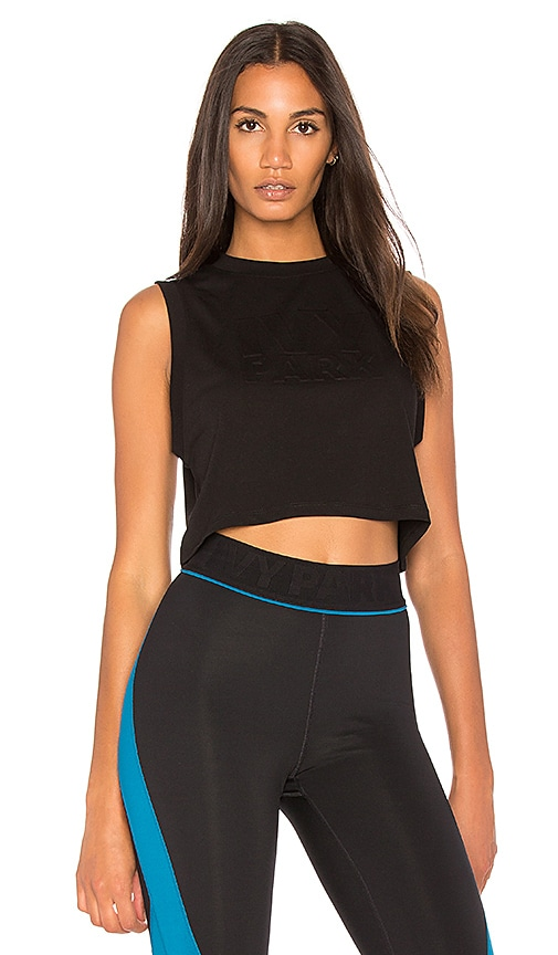 IVY PARK Crop Logo Tank in Black