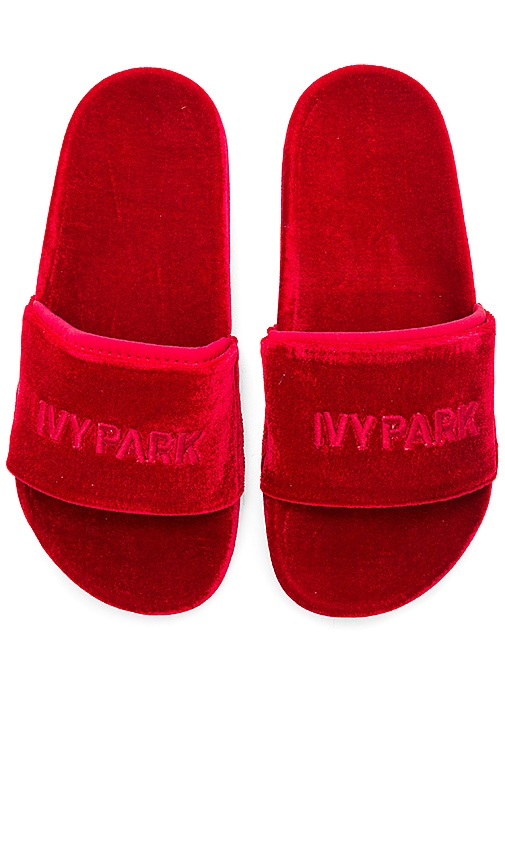 IVY PARK Velvet Sandals in Red