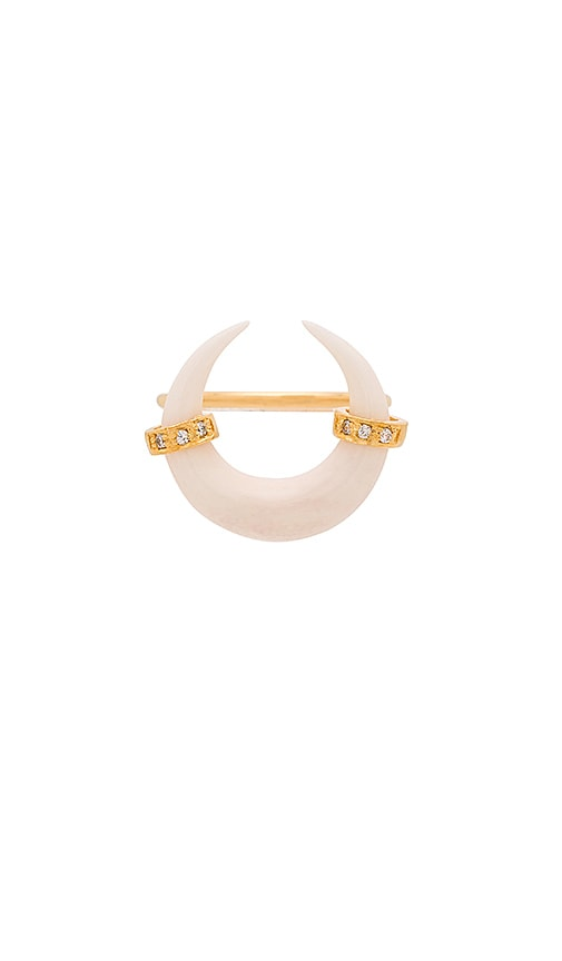 Jacquie Aiche Abalone Double Horn Ring in Gold