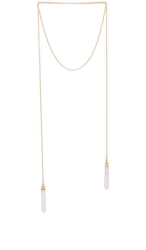 Jacquie Aiche Double Crystal Wrap Necklace in Metallic Gold