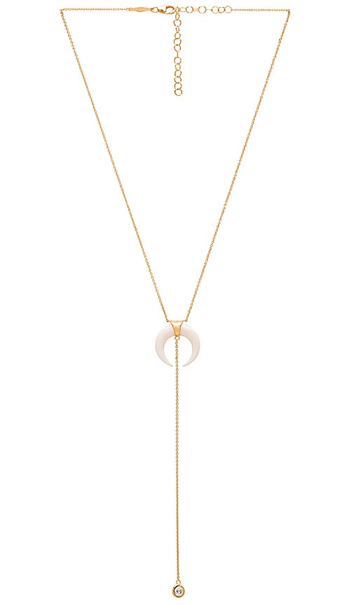 Jacquie Aiche Double Bone Horn Necklace in Metallic Gold
